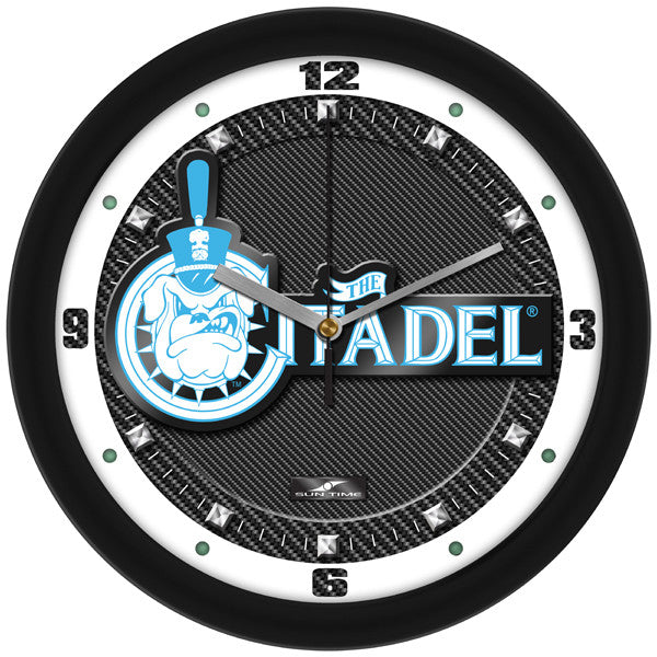 Citadel Bulldogs Carbon Fiber Wall Clock