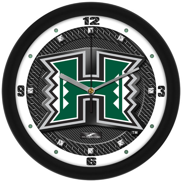 Hawaii Warriors Carbon Fiber Wall Clock
