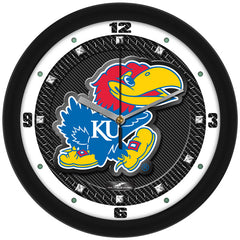 Kansas Jayhawks Carbon Fiber Wall Clock