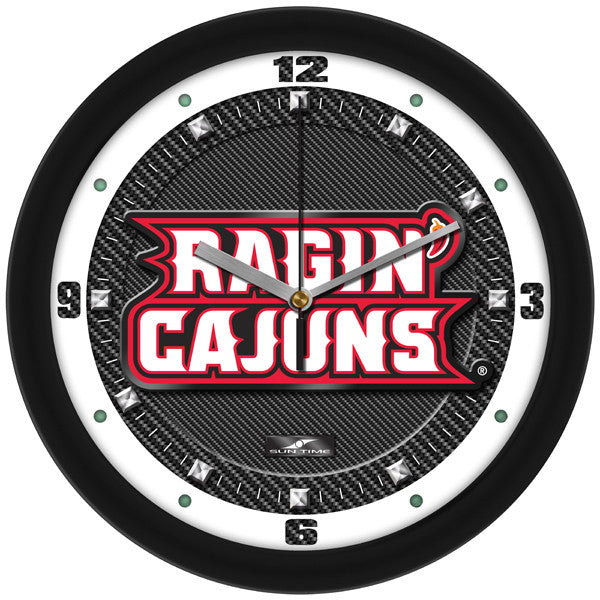 Louisiana Lafayette Ragin Cajuns Carbon Fiber Wall Clock