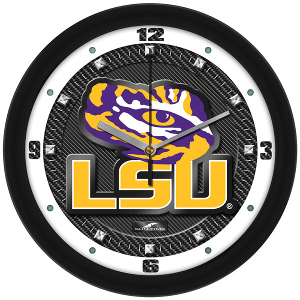 LSU Tigers Carbon Fiber Wall Clock