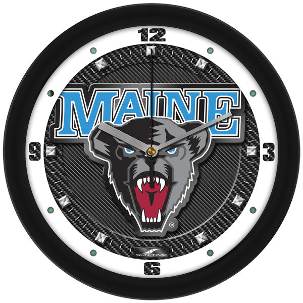 Maine Black Bears Carbon Fiber Wall Clock