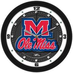 Mississippi Rebels Carbon Fiber Wall Clock