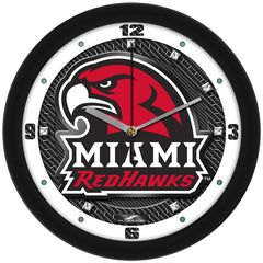 Miami Redhawks Carbon Fiber Wall Clock