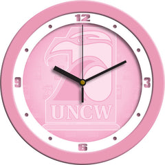 North Carolina Wilmington Seahawks Pink Wall Clock