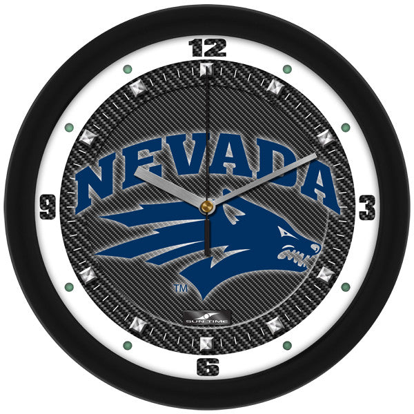 Nevada Wolfpack Carbon Fiber Wall Clock