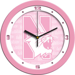 Northwestern Wildcats Pink Wall Clock