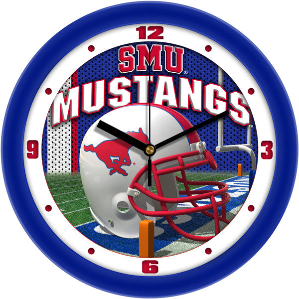 SMU Mustangs Football Helmet Wall Clock