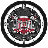 Troy Trojans Carbon Fiber Wall Clock