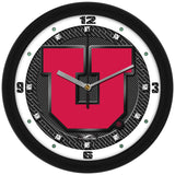 Utah Utes Carbon Fiber Wall Clock