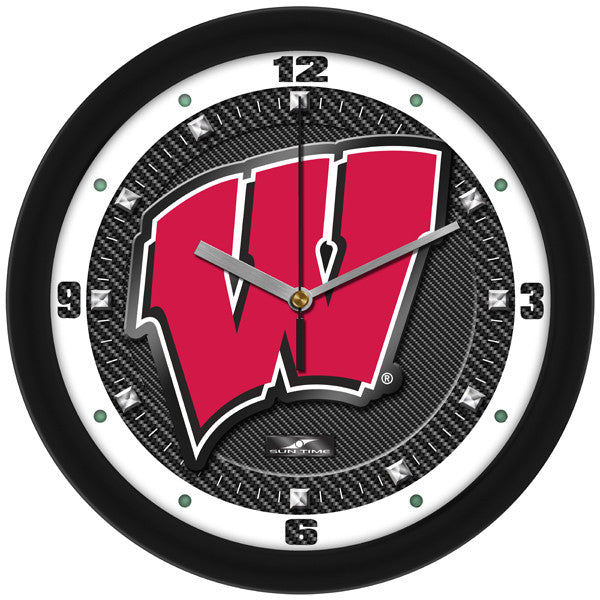 Wisconsin Badgers Carbon Fiber Wall Clock