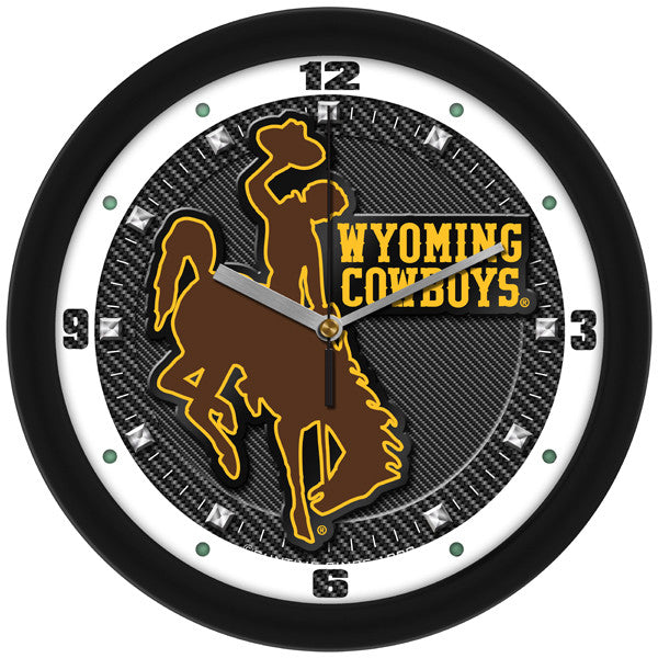 Wyoming Cowboys Carbon Fiber Wall Clock