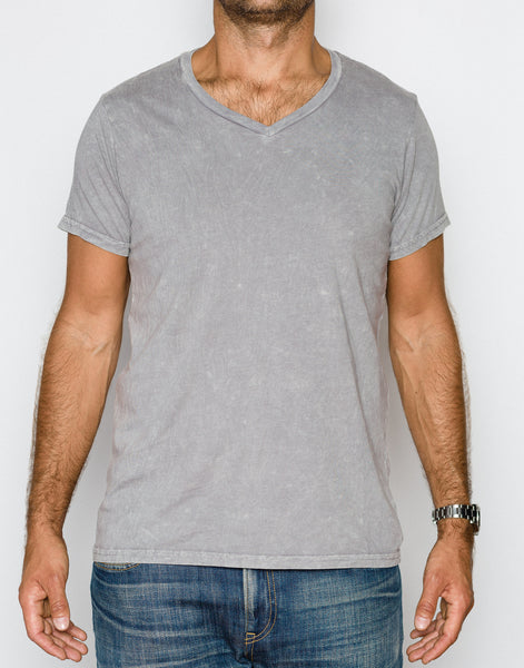 Power Wash V-Neck Tee - Steel Grey - ANYBRAND  - 1