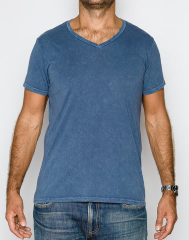 Power Wash V-Neck- Ocean Blue - ANYBRAND  - 1