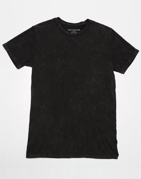 Power Wash Crew neck tee - Black - ANYBRAND
