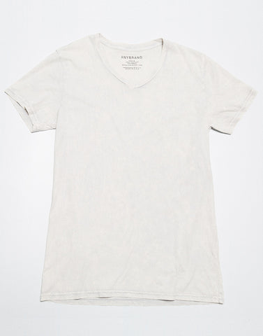 Power Wash V Neck T - Washed White - ANYBRAND