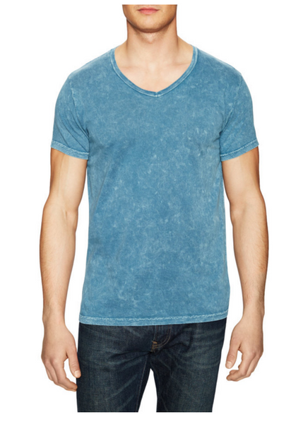 Power Wash V-Neck Tee- Mineral Blue - ANYBRAND  - 1