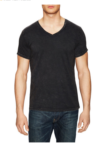 Power Wash V-Neck Tee- Black - ANYBRAND  - 1