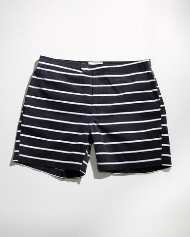 ANYBRAND STRIPED BLACK SWIM TRUNK