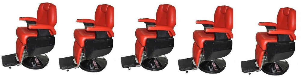 Five All Purpose Red Reclining Barber Chairs , Barber Chairs - The Salon Product Store, The Salon Product Store  - 1