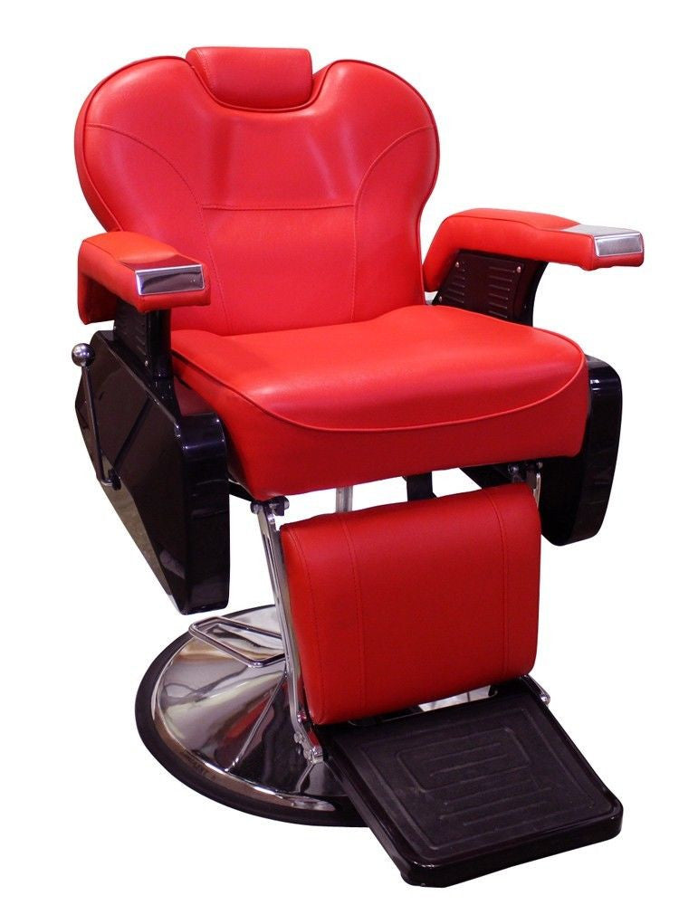 Big Red Reclining Barber Chair Front