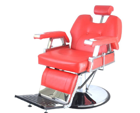 Heavy Duty Deluxe Reclining Barber Chair Red, Barber Chairs - The Salon Product Store, The Salon Product Store  - 1