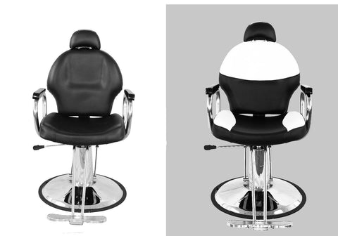 Euro Hydraulic Styling Chair Double Picture Black Front View and Black with White Front View