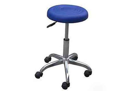 Hydraulic Rolling Stool - Ribbed Seat Chrome Base Blue, Rolling Stools - The Salon Product Store, The Salon Product Store  - 1