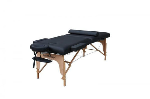 "Portable Massage Table with 3"" Pad + 30"" Width + Bolster Pillow Black / Black, Massage Table - Best Massage, The Salon Product Store  - 1"