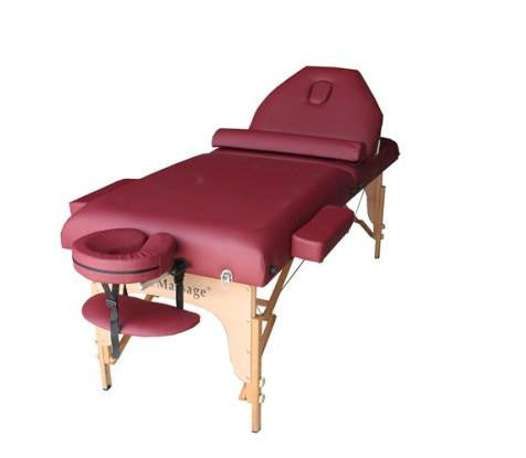 "Portable Massage Table with 4"" Pad 30"" Width + Reiki Lift + Bolster Pillow Burgundy / Black, Massage Table - Best Massage, The Salon Product Store  - 1"