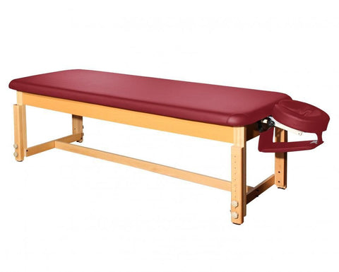 Deluxe PU Leather Stationary Flat Top Massage Table Burgundy, Stationary/Electric Massage Table - The Salon Product Store, The Salon Product Store  - 1