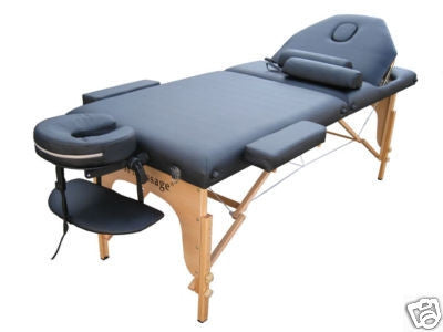 "Portable Massage Table with 2"" Pad + Reiki Lift + 2 Bolster Pillows Black / Black, Massage Table - Best Massage, The Salon Product Store  - 1"