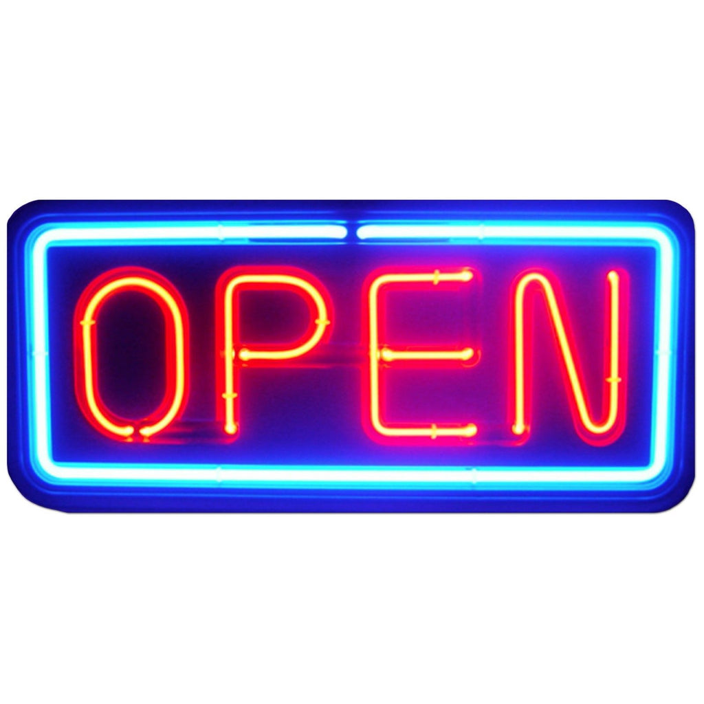Neon open sign store business bright light display led large big shop blue red