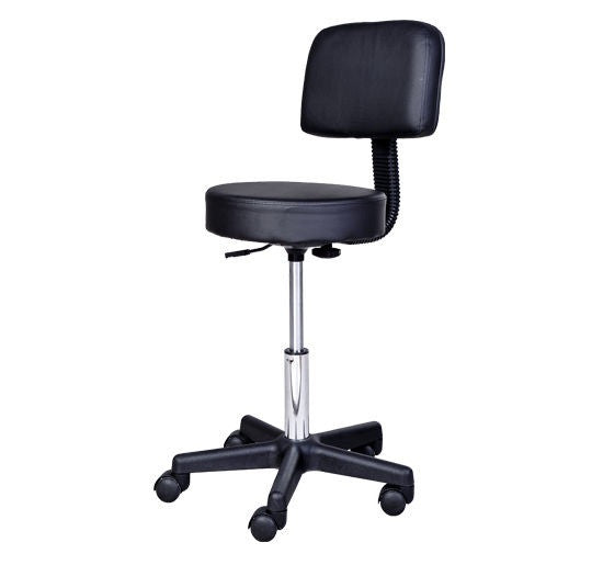 Ergonomic Adjustable Stool with Back Black, Rolling Stools - The Salon Product Store, The Salon Product Store  - 1