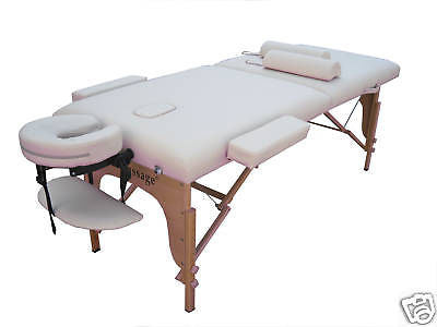 "Portable Massage Table with 2"" Pad + 2 Half Round Bolster Pillows Cream / Blue, Massage Table - Best Massage, The Salon Product Store  - 1"