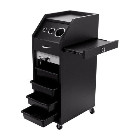 Rolling Locking Wood Styling Station - Black