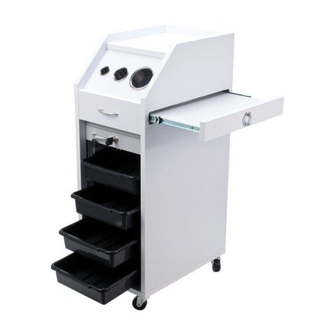 Rolling Locking Wood Styling Station White, furniture - salonsupplystore, The Salon Product Store  - 1