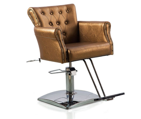 Gold Button Tufted Hydraulic Styling Chair