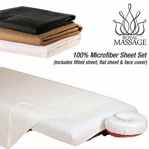 DELUXE 100% MICROFIBER FITTED SHEET SET - 3pc SHEETS Mocha Brown, Sheets/Table Warmers - Royal Massage, The Salon Product Store