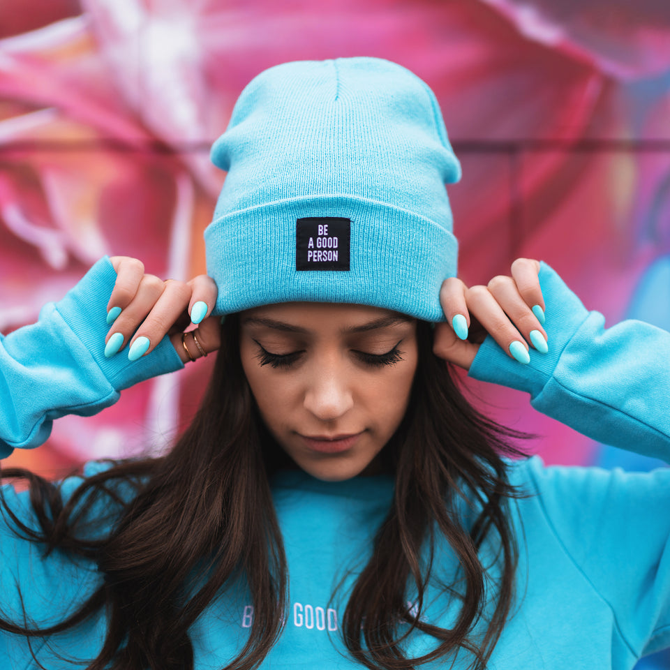 Reversible Patch Beanie - Aqua