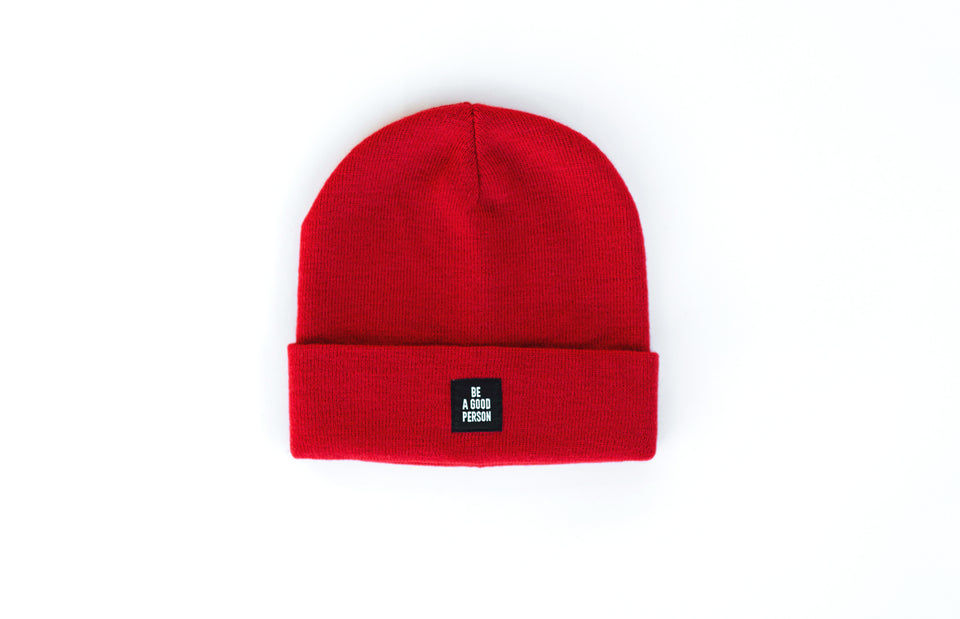 Reversible Patch Beanie - Scarlet