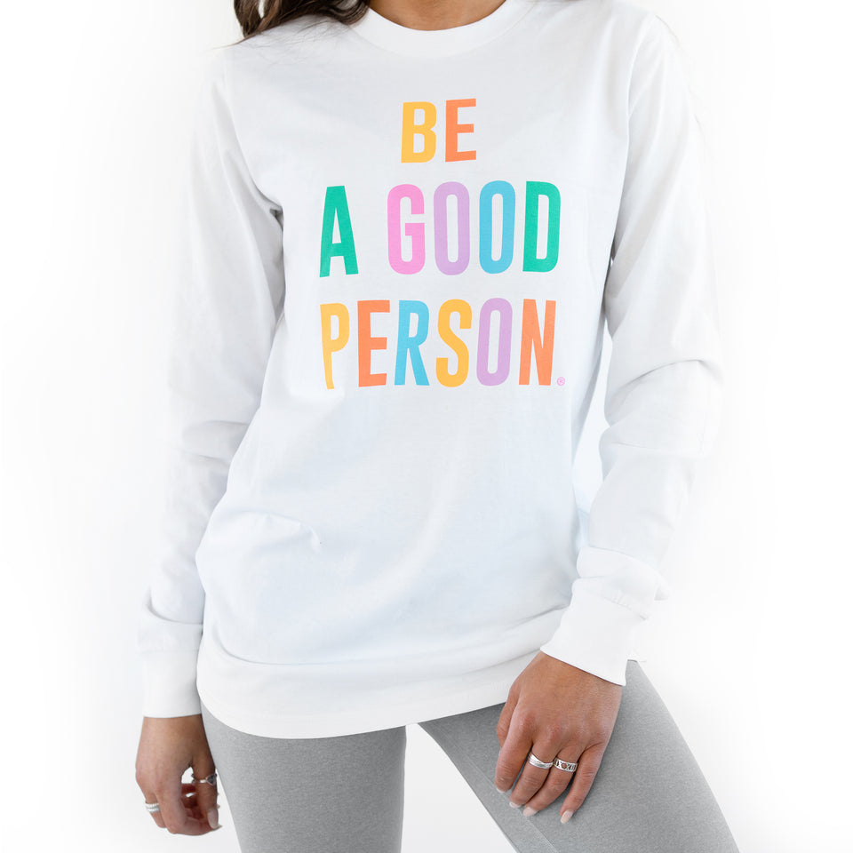 White Color Spectrum Long Sleeve Shirt - Unisex
