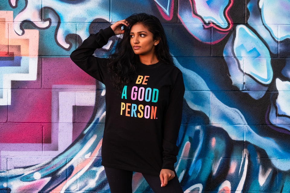 Black Color Spectrum Long Sleeve Shirt - Unisex