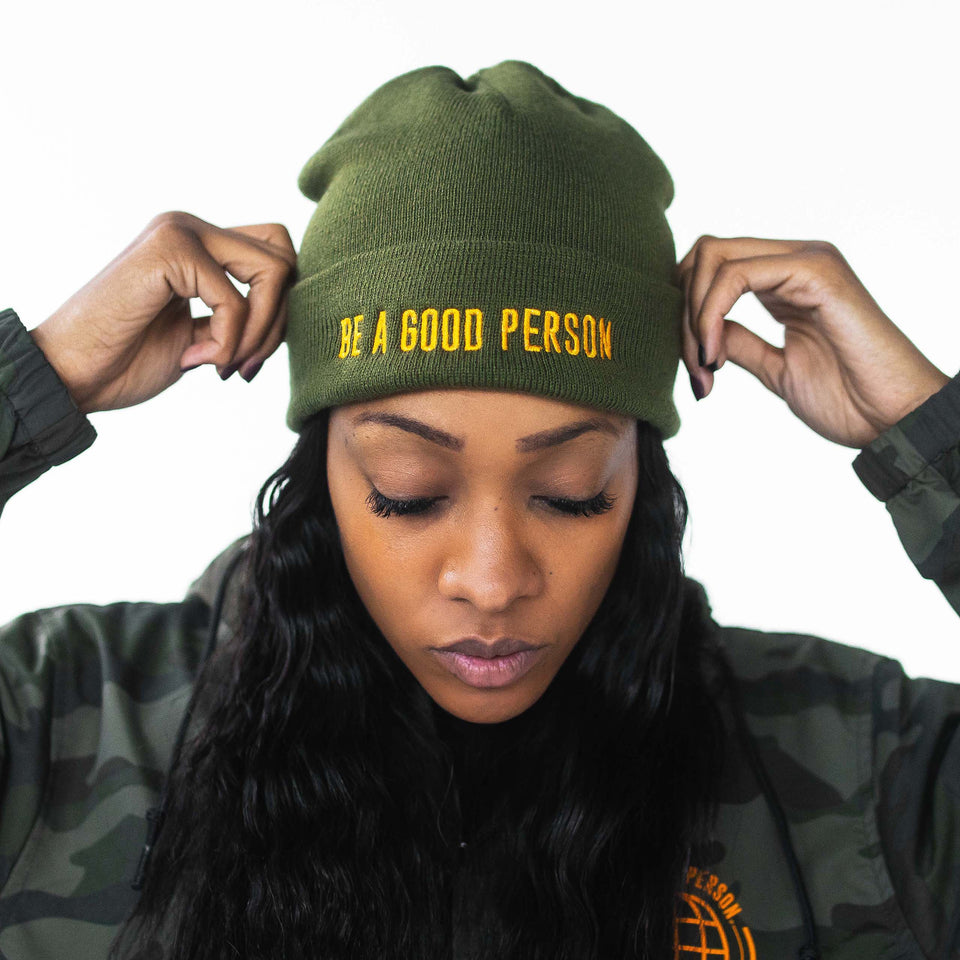 Army Light Orange Embroidered Beanie