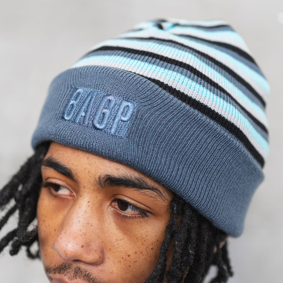 Reversible Patch Beanie - Steel Blue