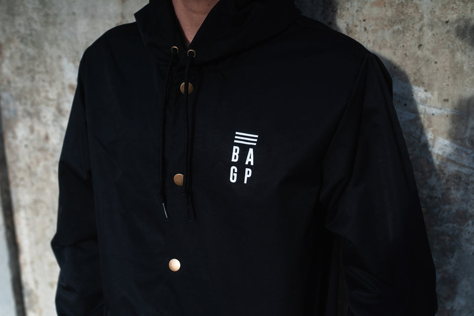 Black Signature Button Up Rain Jacket - Unisex