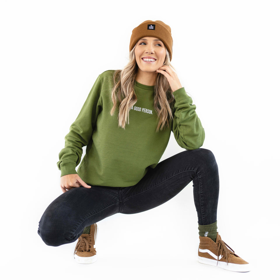 Moss Green French Terry Long Sleeve Crewneck - Unisex