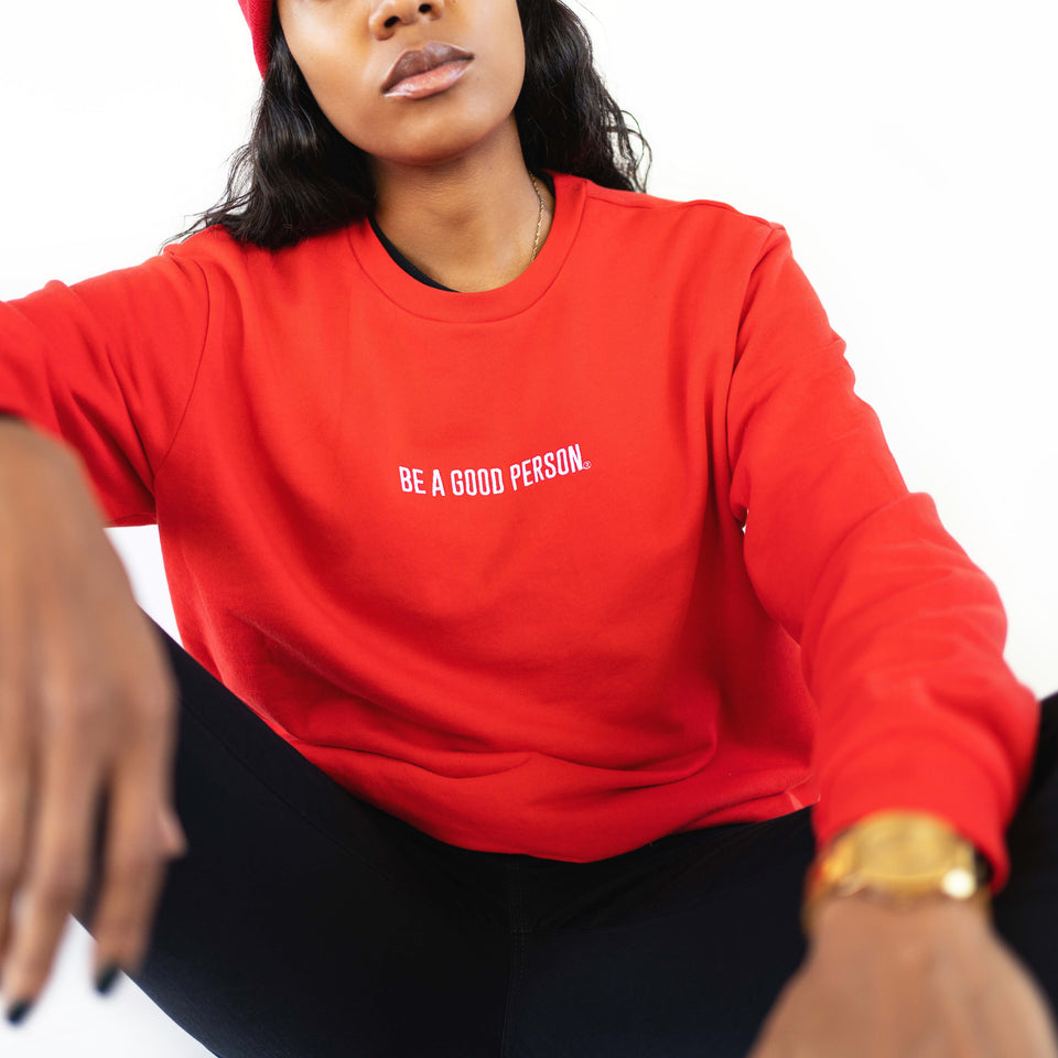 Cherry Red French Terry Long Sleeve Crewneck - Unisex