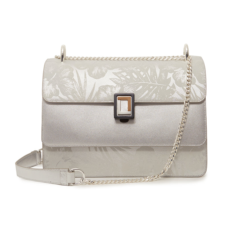 Maria Medium Satchel Silver Palm