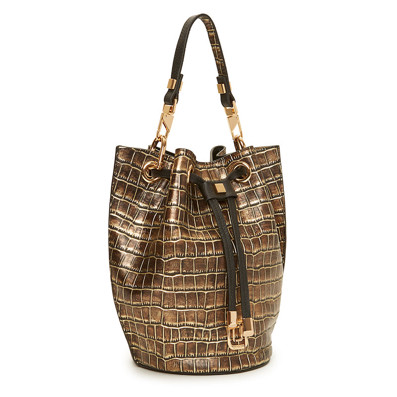 Carla Mini Bucket Natural Croc/Ebony